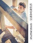 handsome guy with trendy... | Shutterstock . vector #1183418515