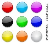 colored glass 3d buttons. round ... | Shutterstock .eps vector #1183418668