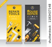 construction tools roll up... | Shutterstock .eps vector #1183437148