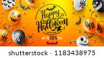 Stock vector halloween sale promotion poster with halloween candy and halloween ghost balloons on orange 1183438975