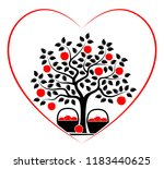 vector apple tree and baskets... | Shutterstock .eps vector #1183440625