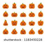 jack o lantern flat icons set... | Shutterstock .eps vector #1183450228