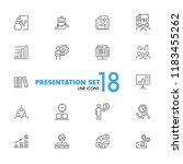presentation icons. set of ... | Shutterstock .eps vector #1183455262
