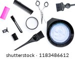 tools for hair dye and hairdye... | Shutterstock . vector #1183486612