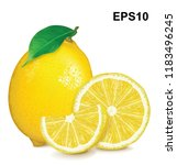fresh lemon with leaf and... | Shutterstock .eps vector #1183496245