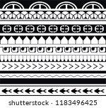 maori   polynesian tattoo style ... | Shutterstock .eps vector #1183496425