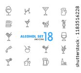 alcohol icons. set of  line... | Shutterstock .eps vector #1183516228