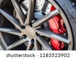 sports car braking system. disc ... | Shutterstock . vector #1183523902