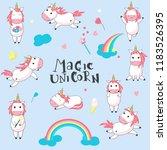 cute magic unicorn icon set.... | Shutterstock . vector #1183526395