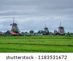windmills in zaanse schans ... | Shutterstock . vector #1183531672