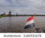 windmills in zaanse schans ... | Shutterstock . vector #1183531678