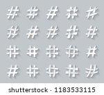 hashtag paper cut icons set. 3d ... | Shutterstock .eps vector #1183533115