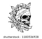 Stock vector skull with roses tattoo by hand drawing tattoo art highly detailed in japanese line art style black 1183536928