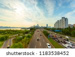 traffic on the morning and... | Shutterstock . vector #1183538452
