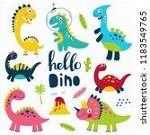 set of cute dinosaurs for... | Shutterstock .eps vector #1183549765