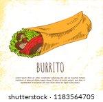 burrito snack isolated on white ...   Shutterstock .eps vector #1183564705