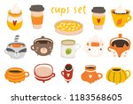 cute autumn set with... | Shutterstock .eps vector #1183568605