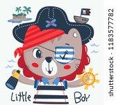 cute lion cartoon in pirate... | Shutterstock .eps vector #1183577782