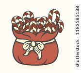 candy cane in red santa's bag... | Shutterstock .eps vector #1183585138