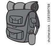 black and white hiking backpack ... | Shutterstock .eps vector #1183589788