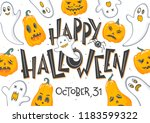 halloween poster with lettering ... | Shutterstock .eps vector #1183599322