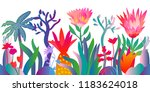 fantasy tropical jungle.... | Shutterstock .eps vector #1183624018