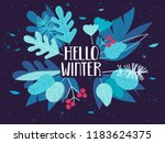 hello winter card with bouquet... | Shutterstock .eps vector #1183624375