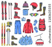 set of mountain and cross...   Shutterstock . vector #1183635355