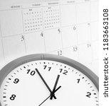clock face and calendar... | Shutterstock . vector #1183663108
