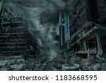 Small photo of A cinematic portrayal of a city destroyed by a typhoon, hurricane or tornado twister. Concept of nature's destruction of a fictitious disaster scene.