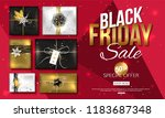 vector black friday sale banner ... | Shutterstock .eps vector #1183687348