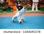 guy karate does kata at the... | Shutterstock . vector #1183692178