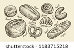 bread  bakery sketch. fresh... | Shutterstock .eps vector #1183715218