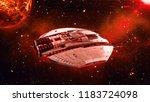 alien spaceship in deep space ... | Shutterstock . vector #1183724098