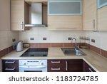 modern flat interior with... | Shutterstock . vector #1183724785