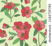 deamless pattern with camellia... | Shutterstock .eps vector #1183739785