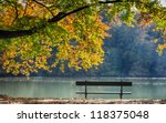 Autumn View Of Lake   Trees An...