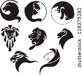 Stylized Black Lions. Set Of...
