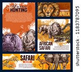 african safari hunting sketch... | Shutterstock .eps vector #1183787095
