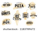 fast food lettering of fastfood ... | Shutterstock .eps vector #1183789672