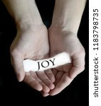 hands holding joy word sign on... | Shutterstock . vector #1183798735