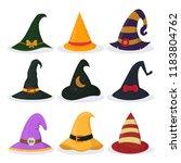 set of isolated halloween hat   Shutterstock .eps vector #1183804762