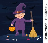 a child with trick or treat...   Shutterstock .eps vector #1183806412