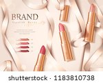 rose gold package lipstick ads... | Shutterstock .eps vector #1183810738