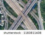 the curve of suspension bridge  ...   Shutterstock . vector #1183811608