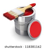 Metal Tin Can With Red Paint...