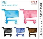 sale watercolor icon set.... | Shutterstock .eps vector #1183814548