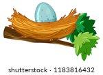 egg in nest branch illustration | Shutterstock .eps vector #1183816432