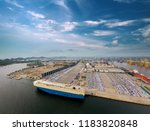 aerial view of logistics... | Shutterstock . vector #1183820848