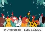 animal theme merry christmas... | Shutterstock .eps vector #1183823302